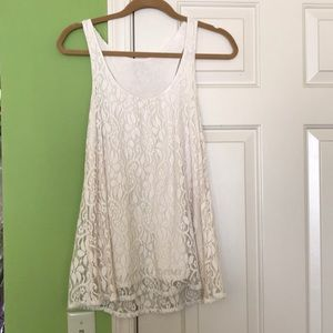 Inc ivory lace tank top